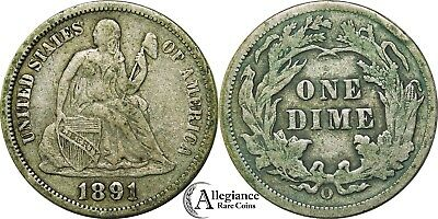 1891-O 10c Seated Liberty Silver Dime NICE GRADE rare old type coin 10 cents XF