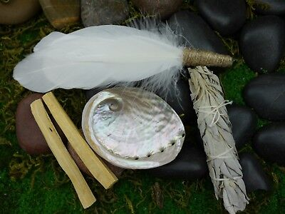 Smudging Kit  Feather Wand ( Abalone Shell 9cm ) White Sage, Palo Santo Smudge