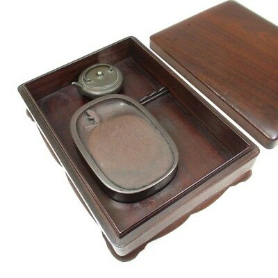 A643 Classy Japanese OLD KARAKI wooden ink stone case with water pot of RYUUN-DO