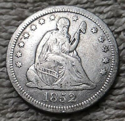 1852 25C Liberty Seated Quarter Coin