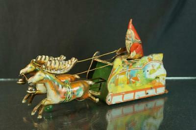 1920's Strauss Santee Clause Christmas Tin Wind Up Sleigh Character Toy