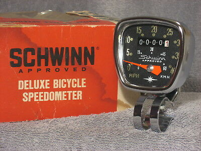 New Vintage Schwinn Deluxe Bike Speedometer Head Huret Bicycle Speedo Nos