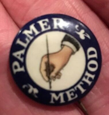 Antique pin, Palmer Method,hand with quill pen,Shorthand method