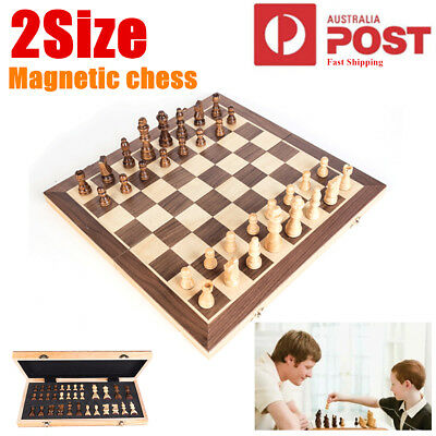 Magnetic Chess Board Game Wooden Set Folding Chessboard Pieces Wood Gift 40x40