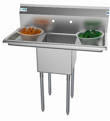 Stainless Steel NSF Commercial Kitchen Prep Utility Sink with 2 Drainboards 38""