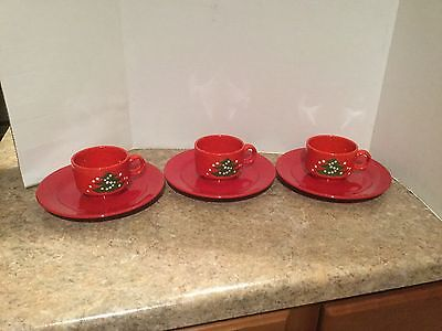 Waechtersbach Red Christmas Tree Pattern 3 Mugs 3 Red Salad Plates West Germany