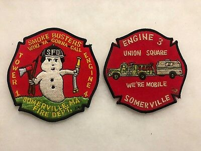 Lot of 2 Fire Department Patches-Massachusetts~Somerville~Smoke Busters, etc.