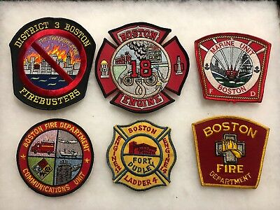 Lot of 6 Fire Department Patches-Boston, Massachusetts~Firebusters~Fort Dudley