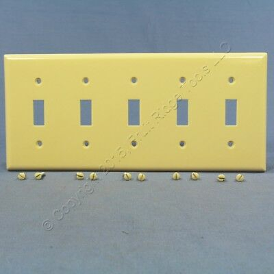 Eagle Ivory 5-Gang Toggle Light Switch Cover Thermoset Plastic Wallplate 2155V