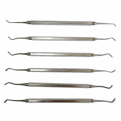 6pcs Durable Dental Stainless Steel Excavator Spoon Double Ended F/ Clinic 1#~6#