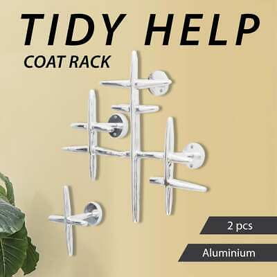 2 Piece Coat Hanger Aluminium Wall Mounted Hat Rack Hook Silver Umbrella Scarf