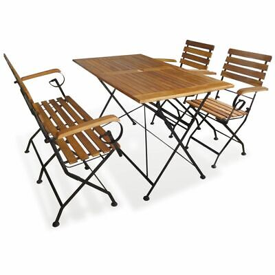 vidaXL Outdoor Dining Set 4 Piece Acacia Wood Garden Foldable Table Chairs