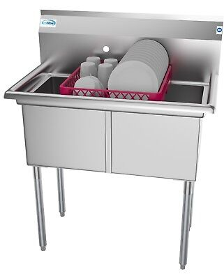 """2 Two Compartment NSF Stainless Steel Commercial Kitchen Prep & Utility Sink 36"""""""