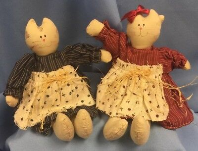 "NWT Pair Of Weighted Country Cat Cloth Shelfsitters, 10"" Long Rustic Farm Raffia"