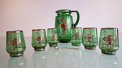 Art Deco Waterset. 1 Of The Best.  Green Glass / Gold Fish, Superb Piece.