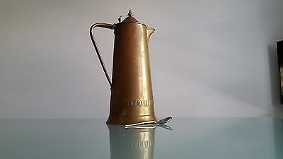 BRASS LIDDED PITCHER, LARGE 30cm HIGH BY JS & S MADE IN ENGLAND. GREAT QUALITY.