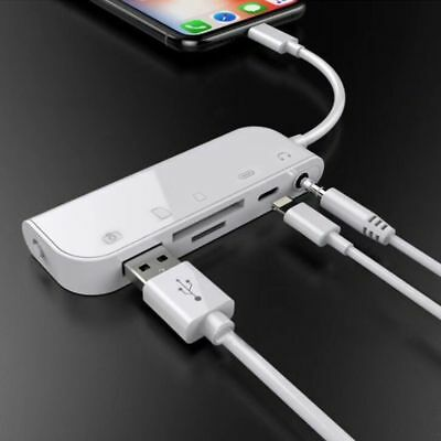 5 In1 8Pin to TF SD Card Reader Camera USB OTG Adapter Charger for iPhone 8 X