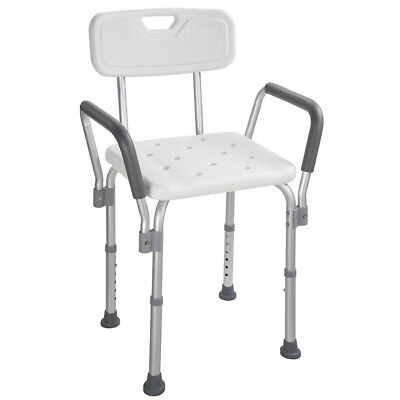 Safety Medical Shower Chair Bath Seat Armrest Bench Stools Detachable Backrest