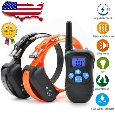 IP67 Waterproof Rechargeable Pet Dog Training Shock Collar Remote Control 2 Dog