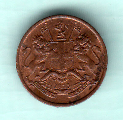 British India 1835 Extremely RARE Copper 1/12 Anna Coin East India Company K18