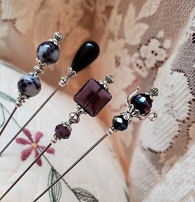 Hat Pins, Scarf Pins Victorian, Vintage Inspired Purple, Black, White Any Length
