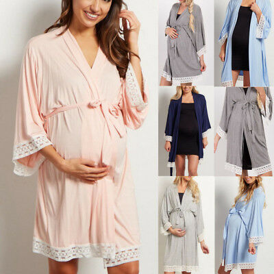 Women Maternity Dress Nursing Nightgown Nightshirt Loose Short Top