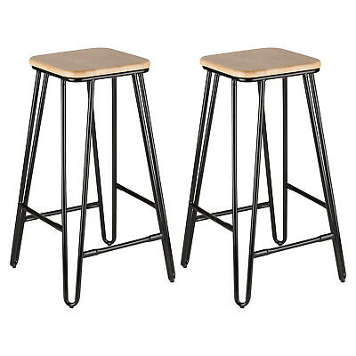 Hartleys 2x Black Hairpin Leg Breakfast Bar Stools Cafe/Bistro Industrial Stool