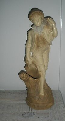 Heavy Tall Plaster Statue Of A Boy Holding Basket - French Look - Pick Up Vic