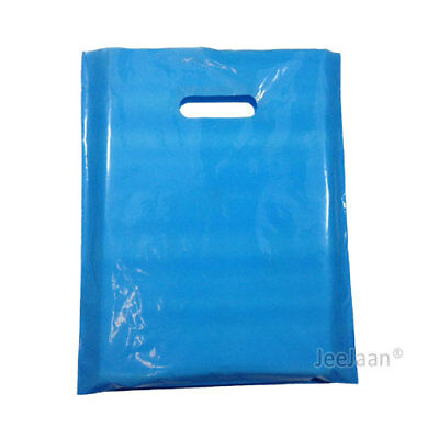 "500 Sky Blue Plastic Carrier Bags 10""x12""+4"" Gift  Party Shop Carry Patch Handle"