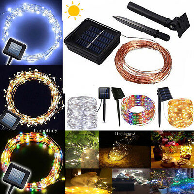 50-100 LED Solar Power Fairy Lights String Lamps Party Xmas Deco Garden Outdoor