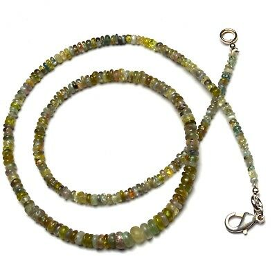 """Natural Gem Chrysoberyl Cats Eye Smooth 3 to 5MM Rondelle Beads Necklace 17"""""""