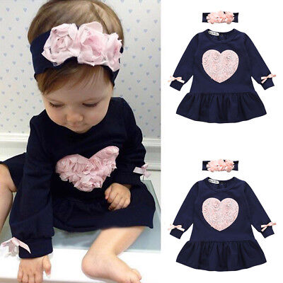 Toddler Infant Baby Girls Floral Heart Princess Dresses Headband Outfits Black