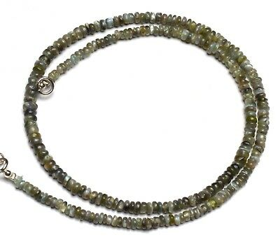 """Natural Gem Chrysoberyl Cats Eye Smooth 3 to 5MM Rondelle Beads Necklace 16"""""""