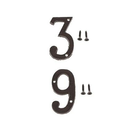 3 &9 Metal Wrought Iron House Address Number Digits for Home Door Sign Plate