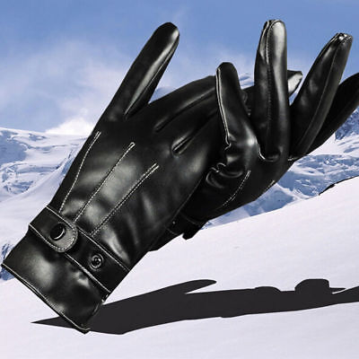 Unisex Thermal Warm Leather Fleece Lined Gloves Insulated Touchscreen Driving