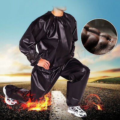 Heavy Duty Sweat Sauna Suit Gym Fitness Exercise Fat Burn Weight Loss Black  UK