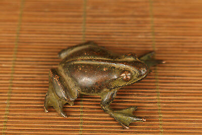 Rare chinese Old bronze hand carving fortune Frog statue figure home deco gift