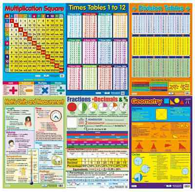 Educational Numeracy Wallcharts- Times Tables/ Divison/ Fractions/ Geometry - A2