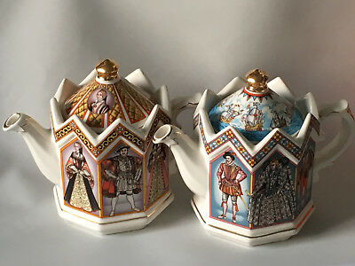 2 Sadler Teapots King Henry VIII and his 6 wives / Elizabeth I Queen of England