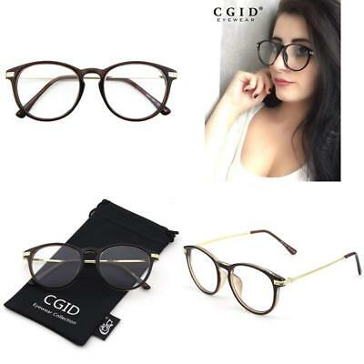 18ee1a82105 Clear Lens Glasses CGID CN92 Fashion Keyhole Metal Temple Oval Horn Rimmed  Gift
