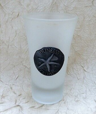 Princess Cruise Line Tall Frosted Shot Glass with Pewter Logo