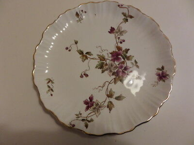 W & R STOKE ON TRENT - CARLTON WARE - PLATE - WHITE with PURPLE FLOWERS - 22cm