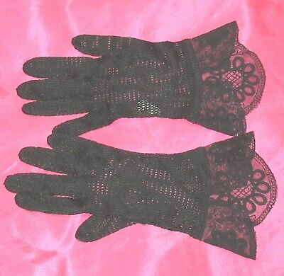 Vintage Black Rayon and Lace Gloves 50's/60's Size 7 UNWORN