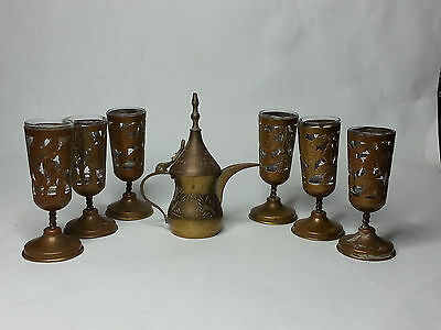 Dallah Coffee Pot Small Brass and Set of Footed GLasses Brass with Glass  6