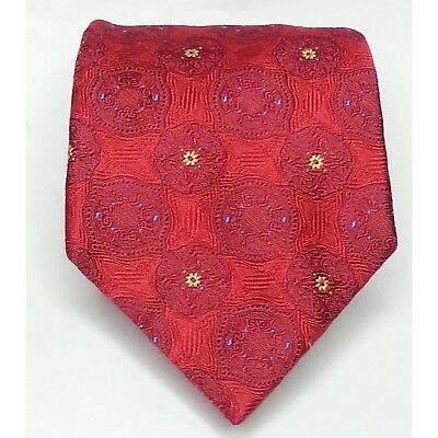 Jos A Bank Men Dress Silk Red Blue Tie Made in ITALY