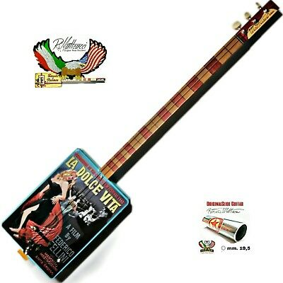 La dolce vita Cigar Box Guitar, 3 corde, pick-up piezoelettrico tastiera slide.