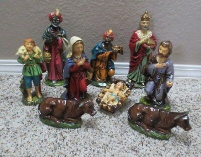 VINTAGE 9 PIECE NATIVITY SET tallest pc 9 in EARLY JAPAN PAPER MACHE BEAUTIFUL