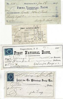 Lot Of Three Vintage Bank Check Revenue Stamp