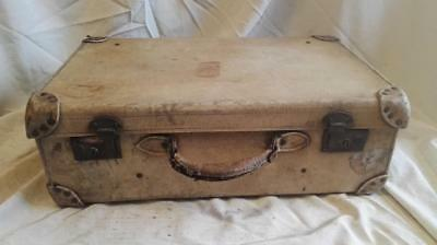 Well Travelled Vintage White Pigskin  Leather Suitcase