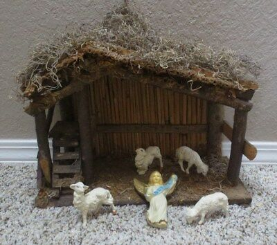 VINTAGE 5 PIECE NATIVITY SET Stable made in Italy